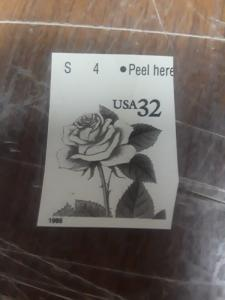 1995 32c Pink Rose Missing Color