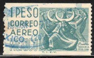 MEXICO C349 $1P 1950 Def 6th Issue Fluorescent unglazed COIL USED, VF. (657)