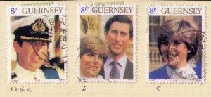 Guernsey 224 a-b-c Used Set Prince Charles and Princess Diana F-VF