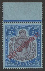 MALTA 1922 Self-Government KGV 2/-, wmk mult crown CA . MNH **.