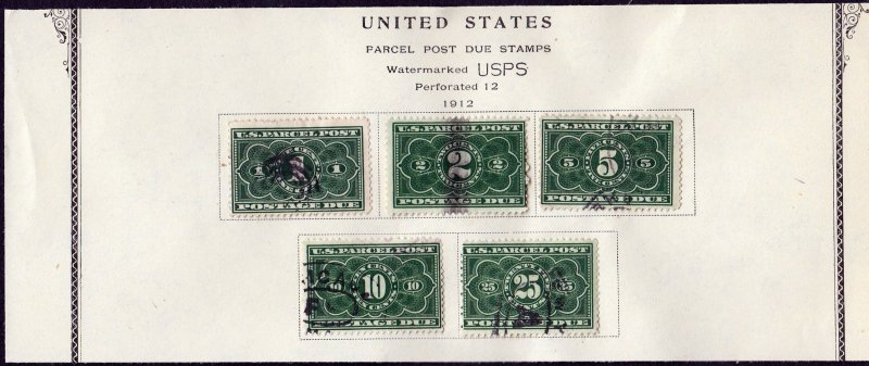 U.S. #JQ1-JQ5 Complete Set Parcel Post Postage Due on Album Page, used.