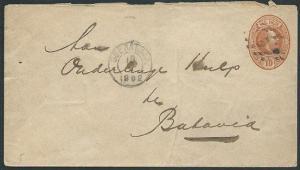 NETHERLANDS INDIES 1892 10c envelope used SOERBAJA TO BATAVIA..............39868