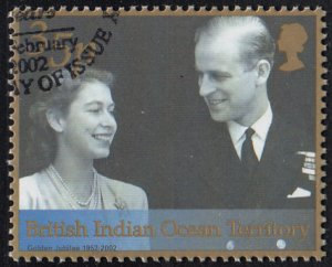 BIOT 2001 used Sc #241 35p With Prince Philip QEII 50th ann Reign