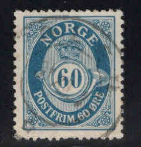 Norway Scott 58 Used Post Horn stamp