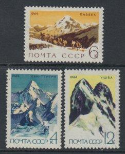 RUSSIA/USSR 1964 MOUNTAINEER -KAZBEK-KHAN TENGRI-USHBA,Sc 2982-2984,VF MNH**