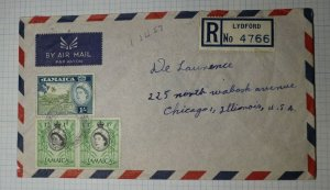 Jamaica Registered Airmail Cover USA 1957 Lydford Sc# 160 168