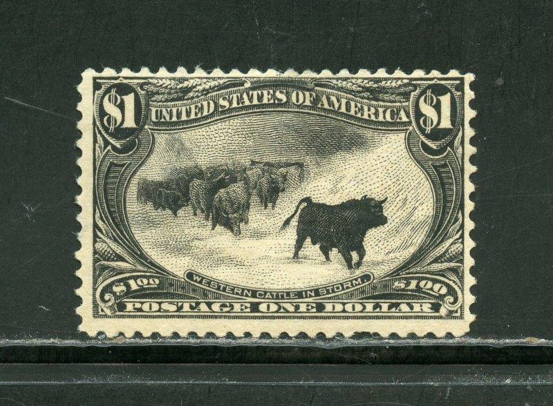 UNITED STATES SCOTT# 292 $1.00 TRANS-MISSISSIPPI MINT HINGED  F/VF