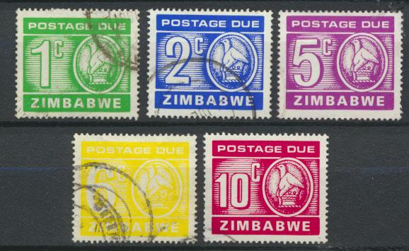 Zimbabwe SG D23 - D27 set Postage Due set of 5 Used