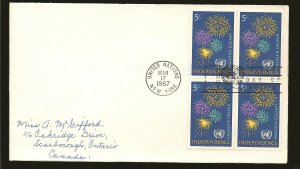 United Nations 168 Fire Works Block of 4 1967 First Day Cover