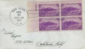 801 3c PUERTO RICO - Plate Block of 4
