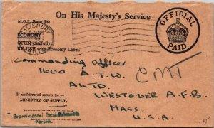 Salisbury UK > CO Westover AFB MA Experimental Establishment Person no stamp