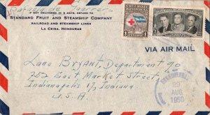 Honduras 1c Red Cross and 21c Galvez, Carias and Lozano 1950 Encomiendas, Cor...