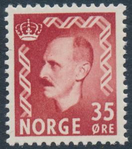 Norway Scott 346 (Facit 433), 35ø brown-red Haakon, F-VF MNH
