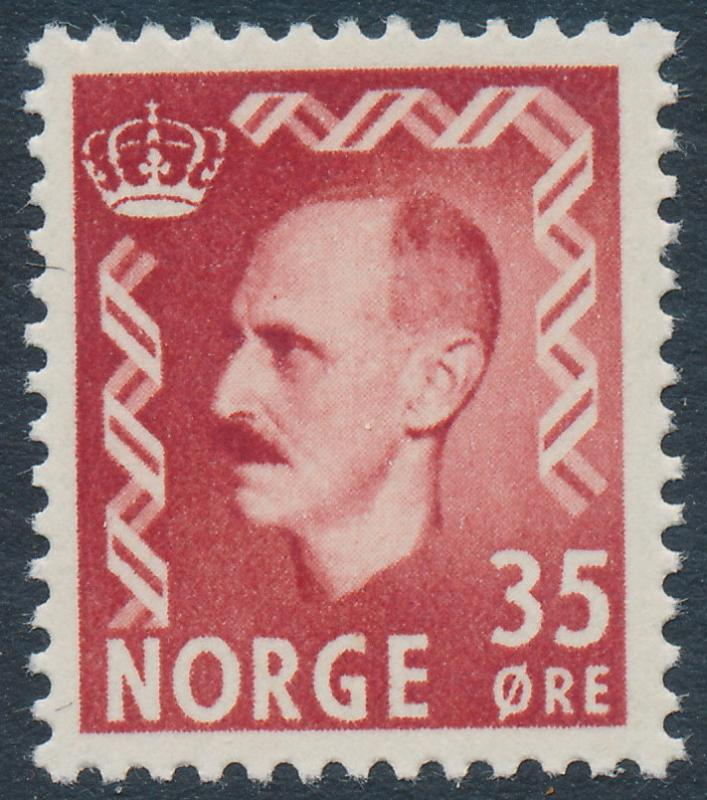 Norway Scott 346 (Facit 433), 35ø brown-red Haakon, F-VF MNH