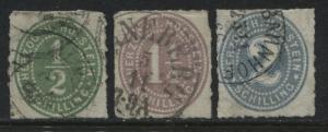 Holstein 1865 1/2, 1, & 2 schillings used (JD)