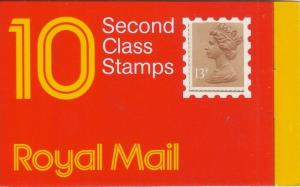 GB 1987 13p Window Booklet GI1 'H' Square Tab