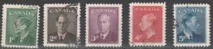 #289-93 Canada Used George VI Postage Omitted