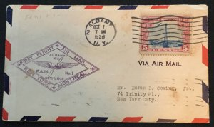 US First Flight Cover FAM 1 10/1/1928 Albany to Montreal Canada #C11 L19