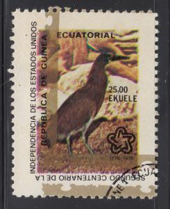 Equatorial Guinea 25e Bird - Shifted gold outline