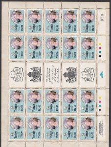 TONGA ^^^^^ sc# 611  Rarer  MNH  BLOCK of 20( GB Queen mother)$243.75