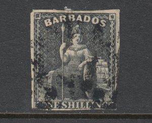Barbados Sc 9 used. 1859 1sh black Britannia, imperf, unwatermarked, sound, F-VF