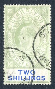 Gibraltar 1904 KEVII. 2s green & blue. Used. MC CA. Chalk. SG62a.