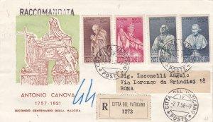 1958 City Del Vatican/Vatikan City, N°243/246 Series Su FDC Raccomandata VI