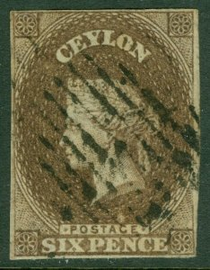EDW1949SELL : CEYLON 1857 Scott #7 Very Fine Used. Fresh & Choice stamp Cat $575