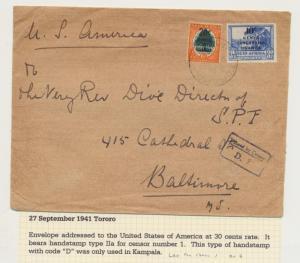 KUT (BRITISH) 1941 TORORO TO USA,CENSOR COVER (H/S2 #1 CODE-D) (SEE BELOW