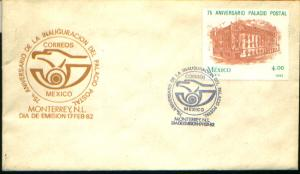 MEXICO 1266 FDC 75th ANNIVERSARY OF MAIN POST OFFICE, MEXICO CITY