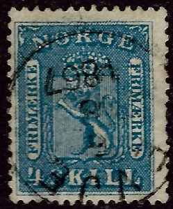 Norway 1863 Sc #8 Used F-VF hr Cat $15...Great Value!