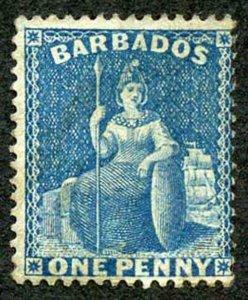 Barbados SG66 1d Deep Blue Wmk Large Star Perf 14 M/Mint Cat 140 pounds