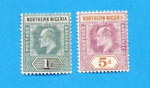 NORTHERN NIGERIA - Scott  24 & 25 - unused hinged - Edward VII - 1905