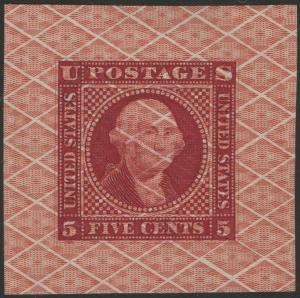 #115-E12a 5¢ 1869 SAFETY PAPER DIE ESSAY CARMINE ON SCARLET XF-S UNIQUE WL8255