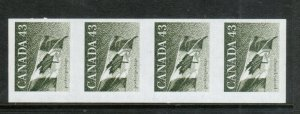 Canada #1395a Extra Fine Never Hinged Imperf Strip Of Four With Kiss Print