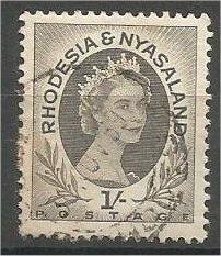 RHODESIA & NYASALAND, 1954, used 1sh, Queen Elizabeth II, Scott 149