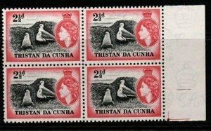 TRISTAN DA CUNHA SG18 1954 2½d DEFINITIVE MNH BLOCK OF 4
