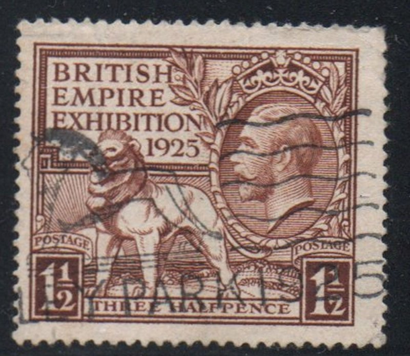 Great Britain Sc 204 1925 1 1/2d  G V & Empire Exhibition stamp used