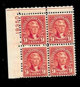 US 1927 Sc# 641 9 c Jefferson  Mint NH - Vivid Color - Plate Block of 4
