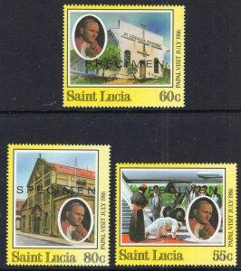 St Lucia 835-837 Pope John Paul II MNH VF