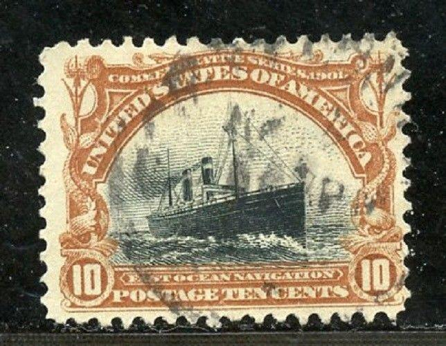U.S. Scott 299 Used 10-Cent Pan American Exposition Issue Picturing a Ship