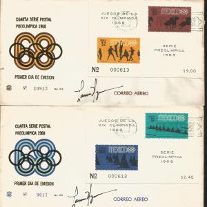 J) 1968 MEXICO, GAMES OF THE XIX OLYMPIAD, FOURTH PRE-OLIMPICAL POSTAL SERIES, B