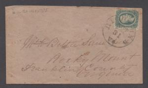**CSA Cover, SC# 12 Tied by Black CDS, Richmond, VA 10/31/1863,4
