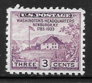 USA 752: 3c Newburgh, VF, NGAI, Mint