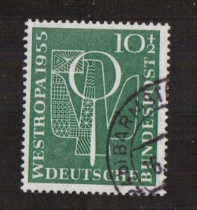 Germany  #B342  used  1955  WESTROPA stamp exhibition  10pf