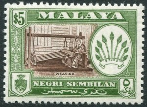 NEGRI SEMBILAN-1957-63 $5 Brown & Bronze-Green Perf 12½ Sg 79 LMM V42827