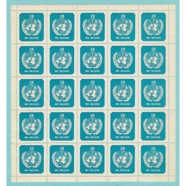 United Nations - ''UN We Believe'' Poster Stamp Sheet