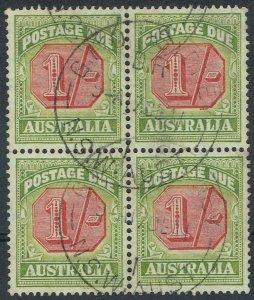 AUSTRALIA 1938 POSTAGE DUE 1/- BLOCK WMK C OF A TYPE D USED