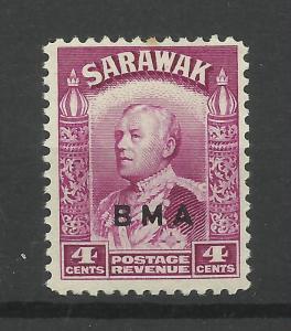 Sarawak 1945, Sg 129, 4c Bright Purple, B.M.A. overprint, LM/Mint [1422]