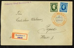 SLOVAKIA 1939 ANDREJ HLINKA 50h and 2.50k on Registered Special Cancel to Poprad